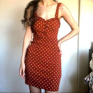 Urban Outfitters Orange Polkadot Dress